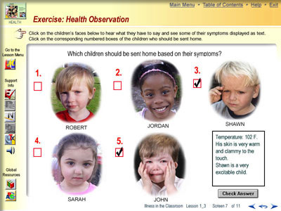 Interactive exercise to determine which children are too ill to be in school and should be sent home.